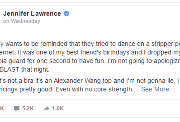 Jennifer Lawrence Won't Apologize for a Leaked Pole Dancing Video
