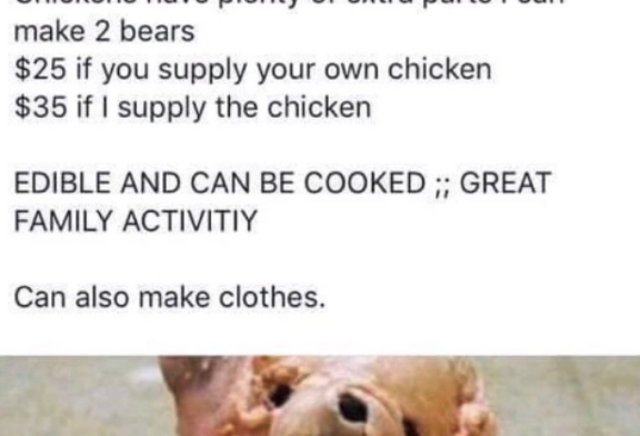 Someone Is Selling Teddy Bears Made Out of Raw Chicken