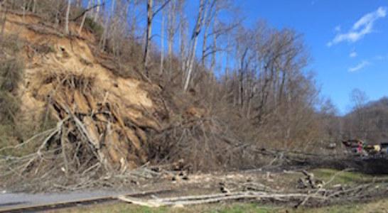 Land Slide on Highway 74 Over Weekend